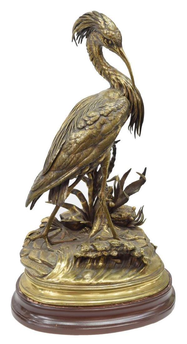 JULES MOIGNIEZ (1835-1894) WILDLIFE BRONZE HERON