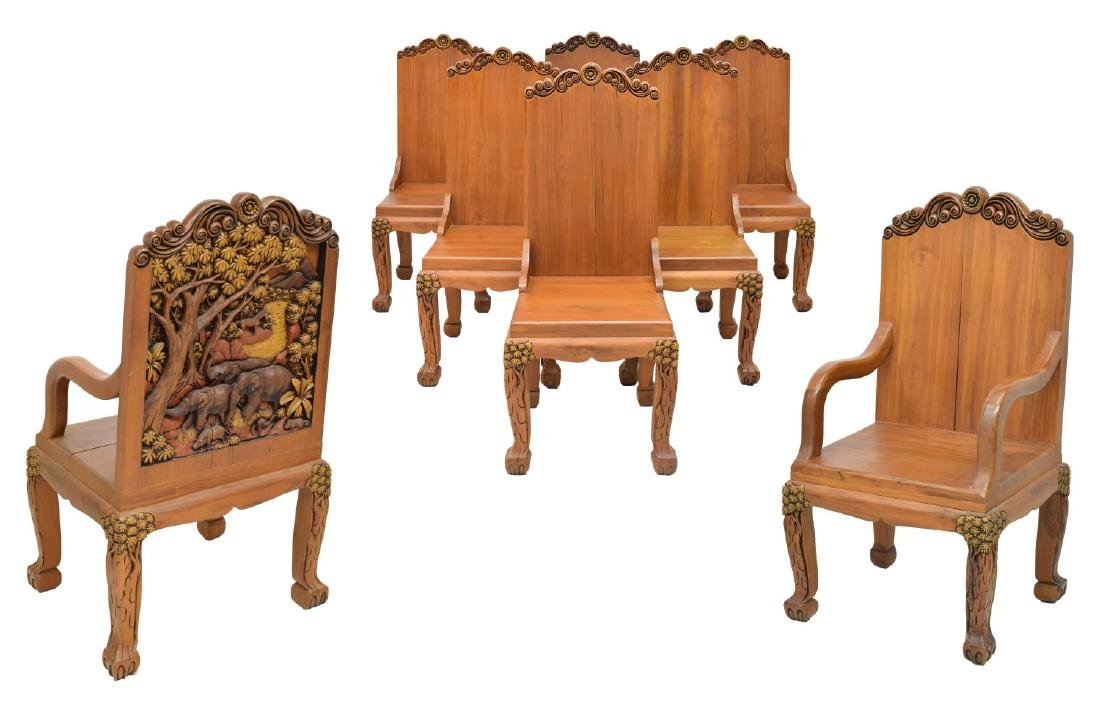 (8)HEAVILY CARVED TEAKWOOD DINING CHAIRS, THAILAND