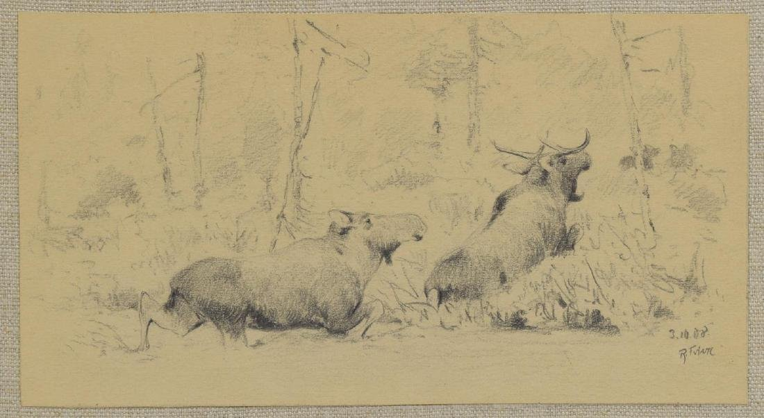 RICHARD FRIESE (1854-1918) FRAMED PENCIL SKETCH