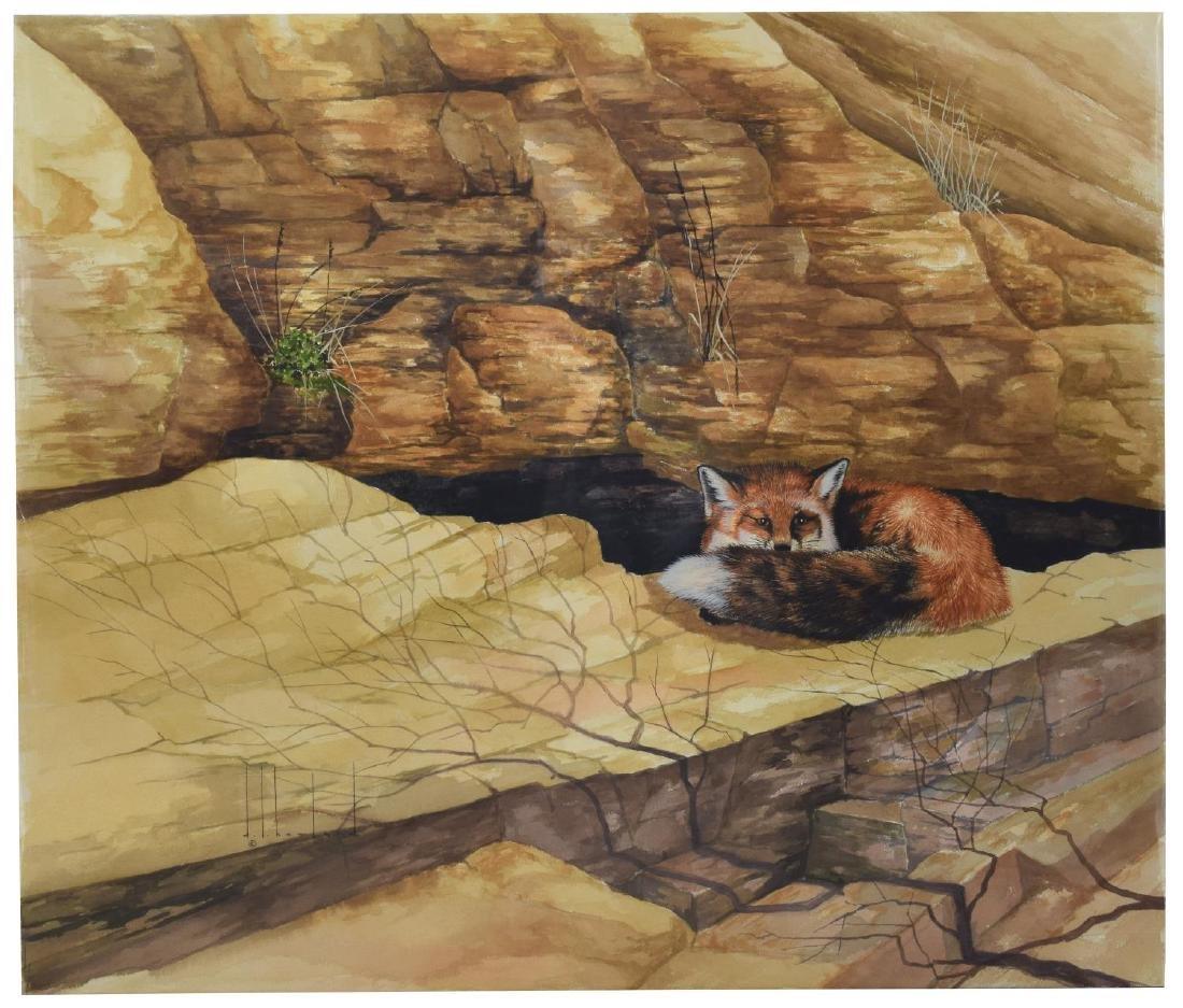 D. HOWLAND (NY, 1920-1999) FOX WATERCOLOR PAINTING