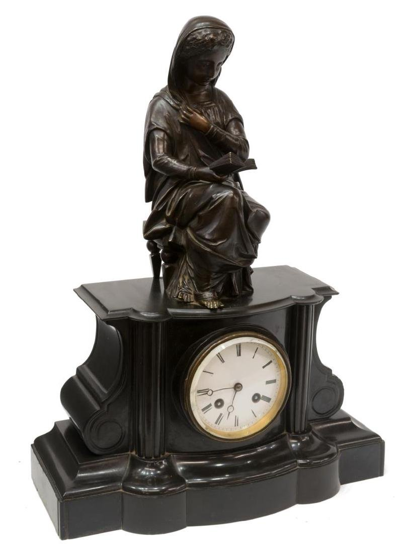 FRENCH BRONZE & MARBLE FIGURAL MANTEL CLOCK