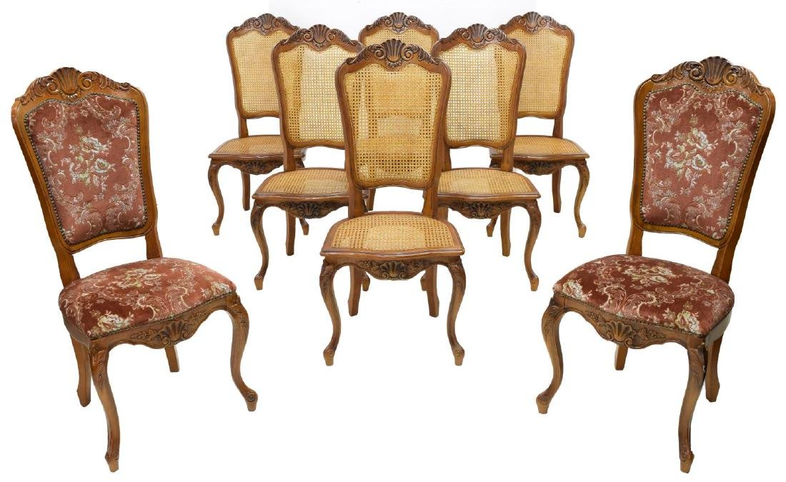 (8) LOUIS XV STYLE CARVED FRUITWOOD CHAIRS