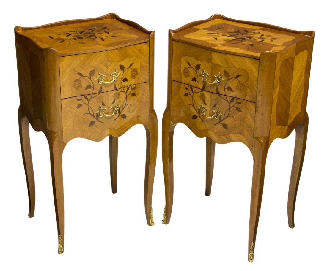 (2) LOUIS XV STYLE MAHOGANY MARQUETRY SIDE TABLES