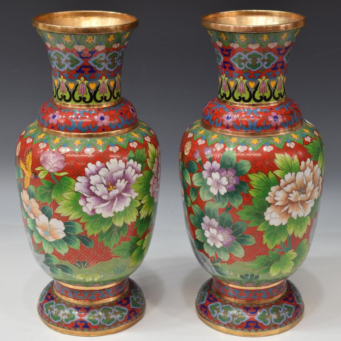 (2) CHINESE RED CLOISONNE VASES, FLOWERS & BIRDS
