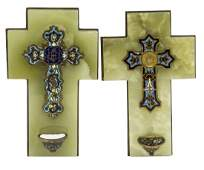 2 FRENCH CHAMPLEVE ENAMEL BRONZE HOLY WATER FONT