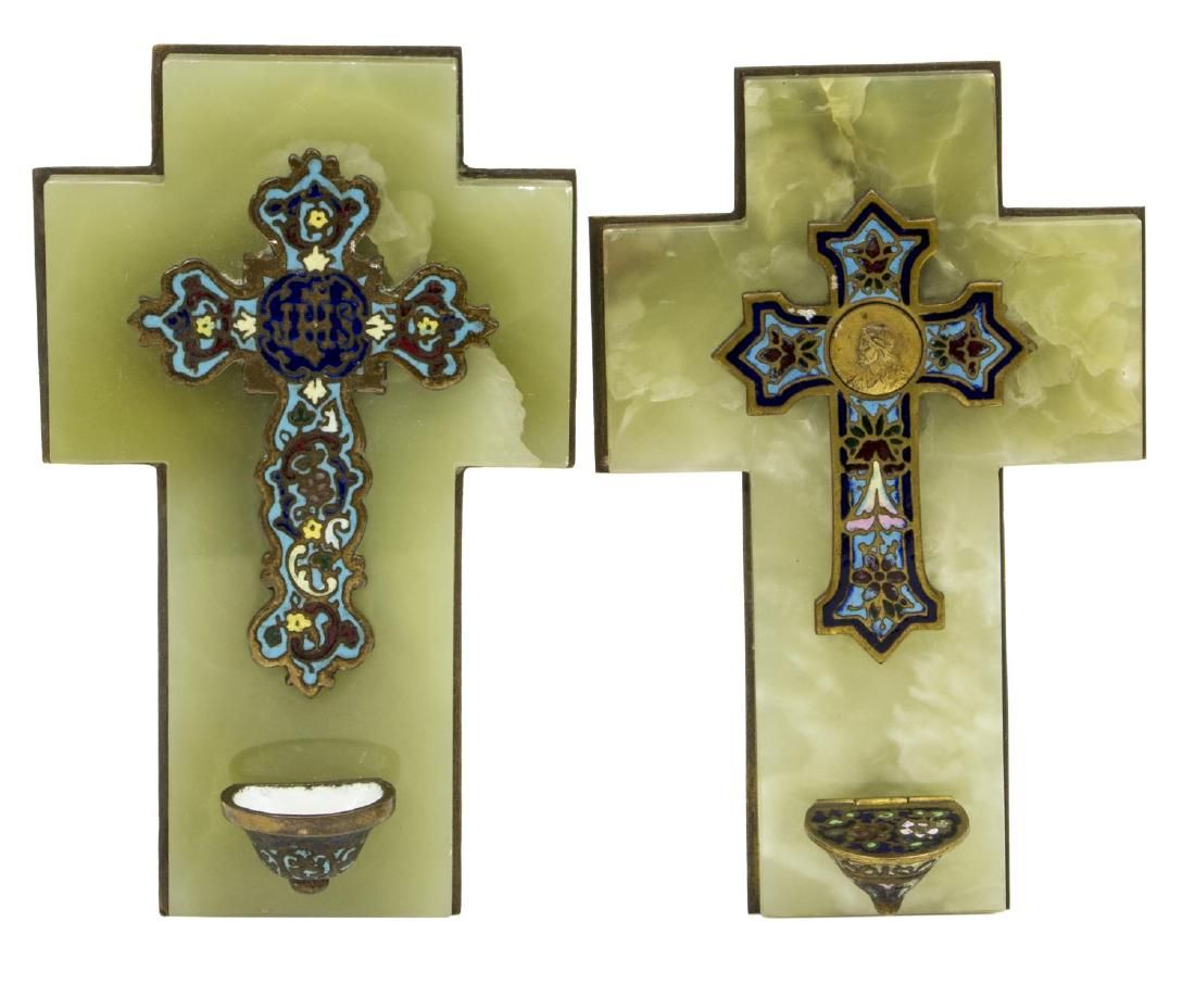 (2) FRENCH CHAMPLEVE ENAMEL BRONZE HOLY WATER FONT