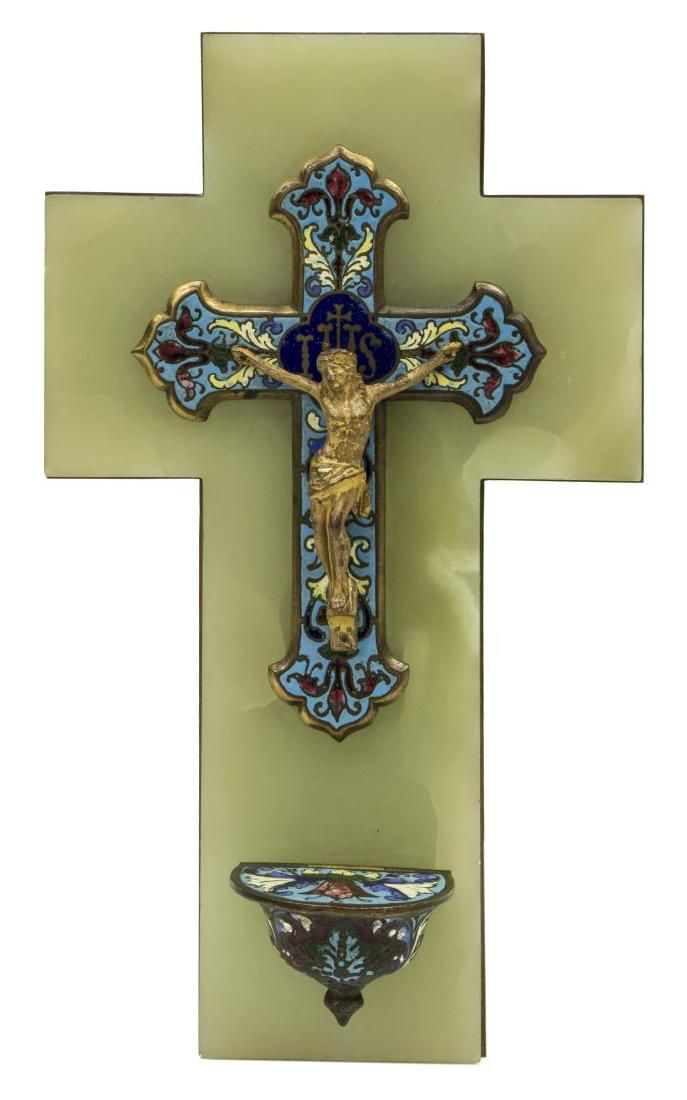 FRENCH CHAMPLEVE ENAMEL & BRONZE HOLY WATER FONT