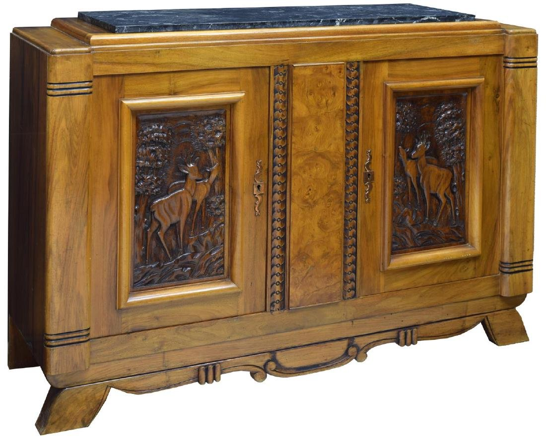 FRENCH ART DECO MARBLE-TOP WALNUT BUFFET