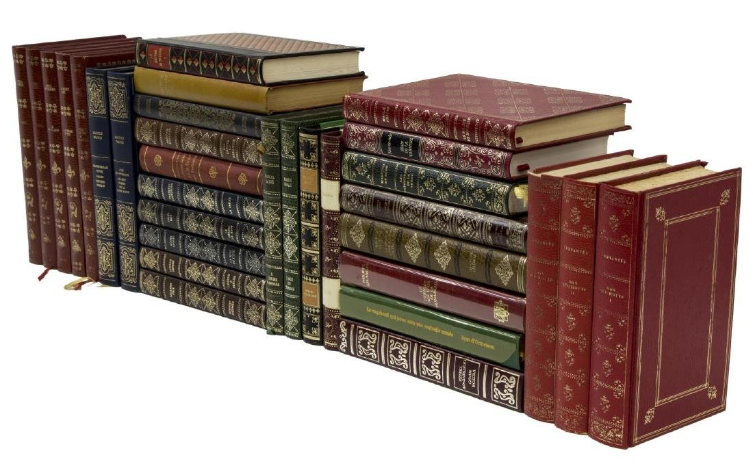 (32) FRENCH GILT EMBOSSED LEATHER LIBRARY BOOKS
