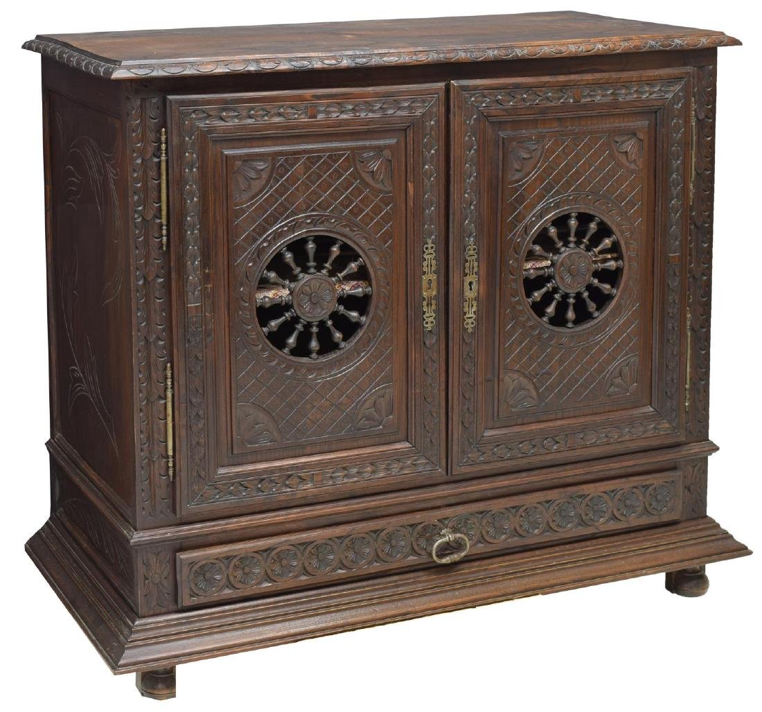 BRETON FRANCE CARVED OAK SIDEBOARD, 19TH C.