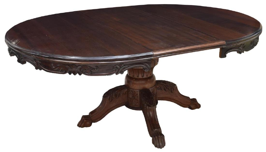GOTHIC REVIVAL STYLE CARVED MAHOGANY DINING TABLE