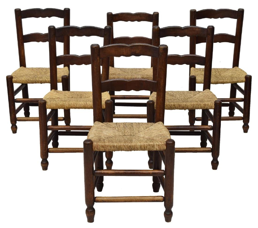 (6) FRENCH RUSTIC OAK LADDER BACK RUSH SEAT CHAIRS