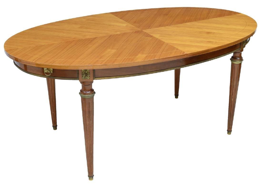 FRENCH LOUIS XVI STYLE WALNUT FINISH DINING TABLE