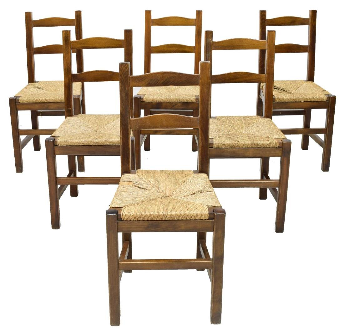 (6) FRENCH PROVINCIAL WALNUT RUSH CANE CHAIRS