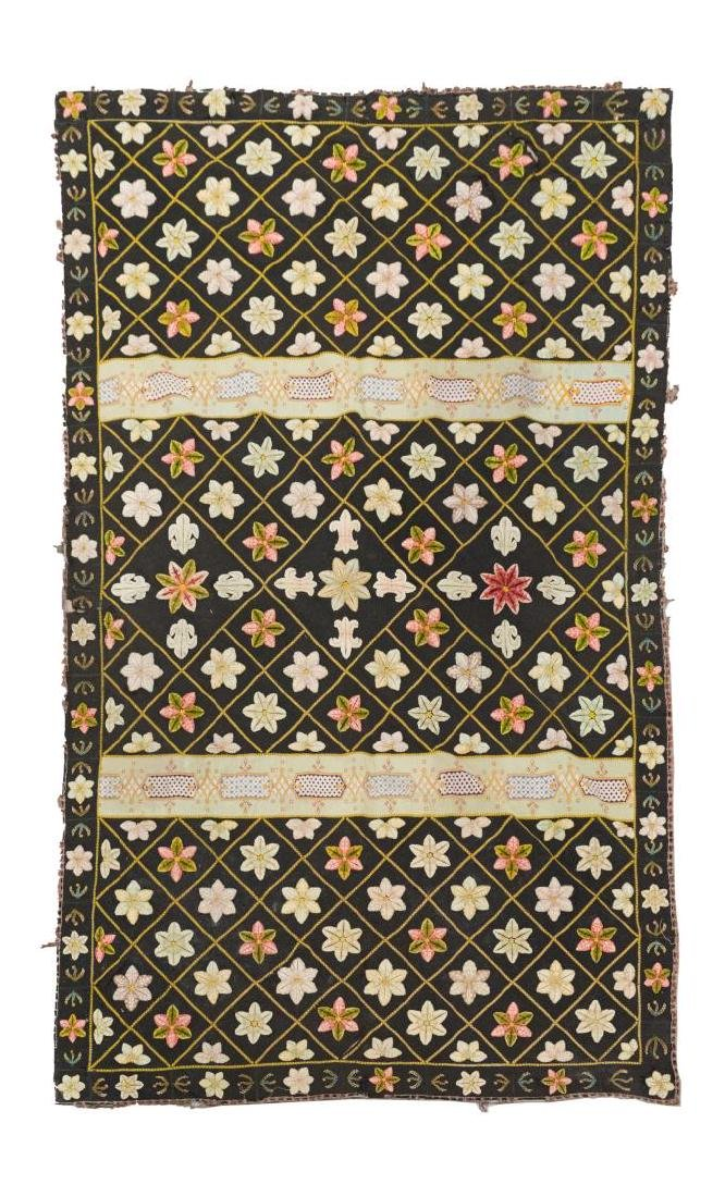 VICTORIAN EMBROIDERED WOOL BEDCOVER, 19TH C.