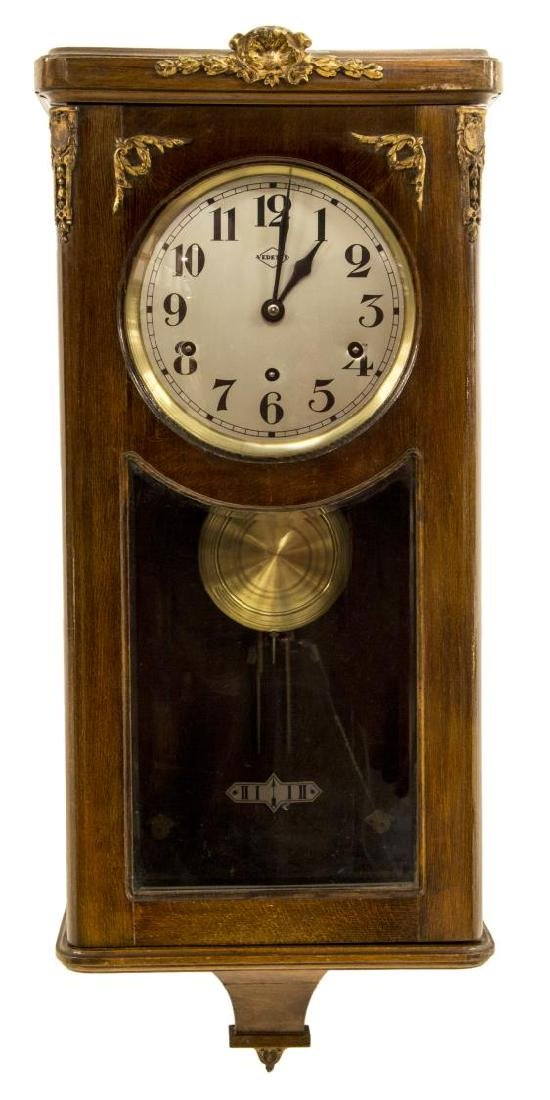 FRENCH MAHOGANY CASED VEDETTE CHIMES WALL CLOCK
