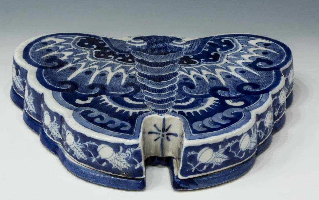 CHINESE BLUE AND WHITE BUTTERFLY CANDY DISH