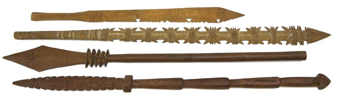 (4) AFRICAN CARVED WOOD SPEARS