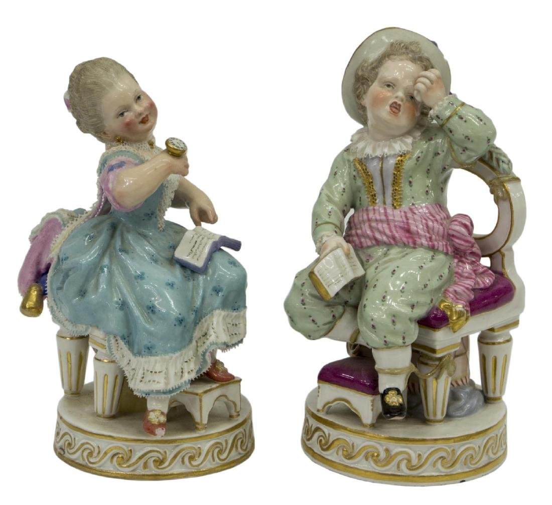 2) MEISSEN PORCELAIN BOY TIED TO CHAIR & GIRL, F49