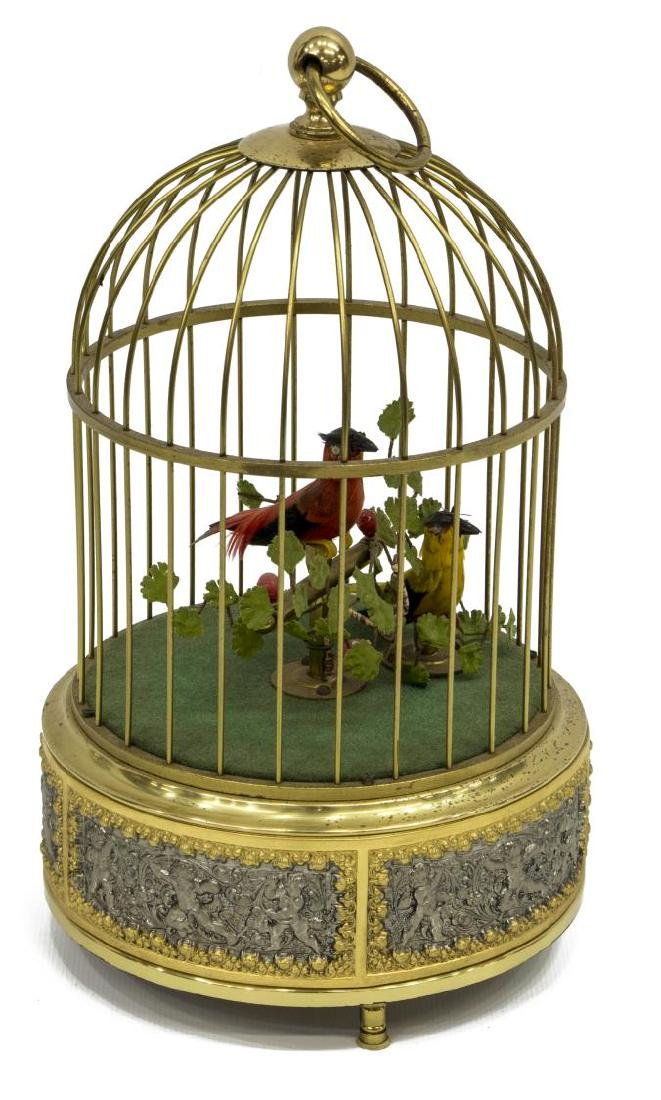 AUTOMATON SINGING BIRDS IN CAGE