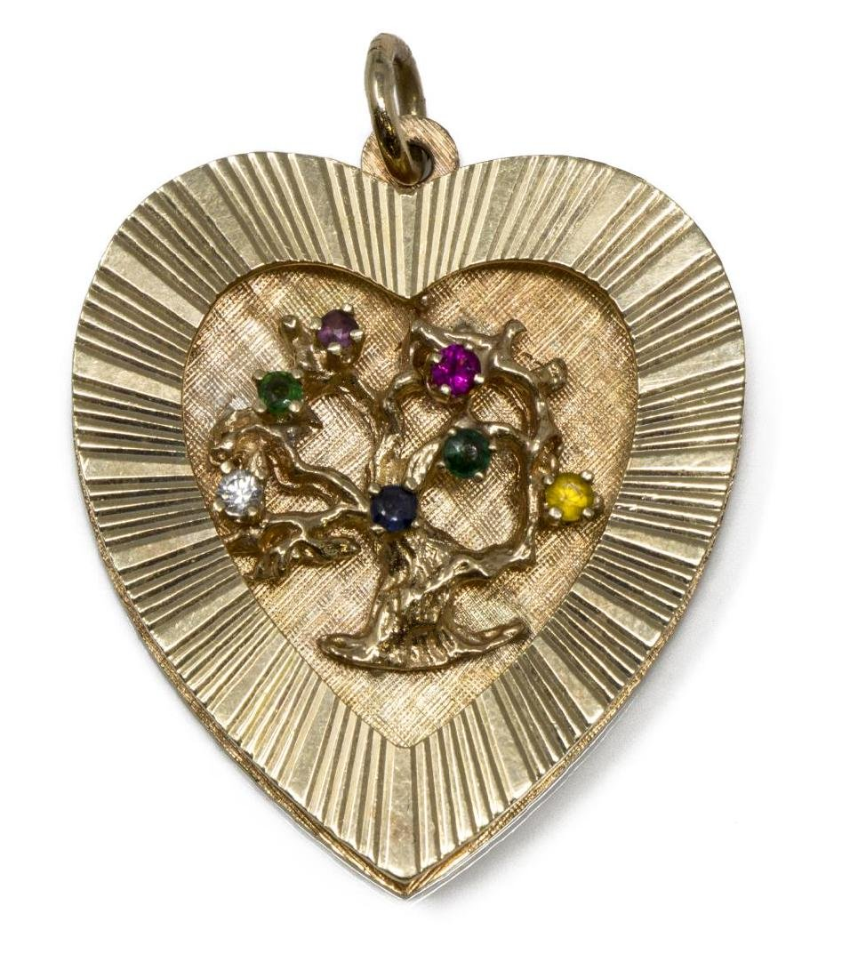 ESTATE 14KT YELLOW GOLD GEMSET HEART FORM PENDANT