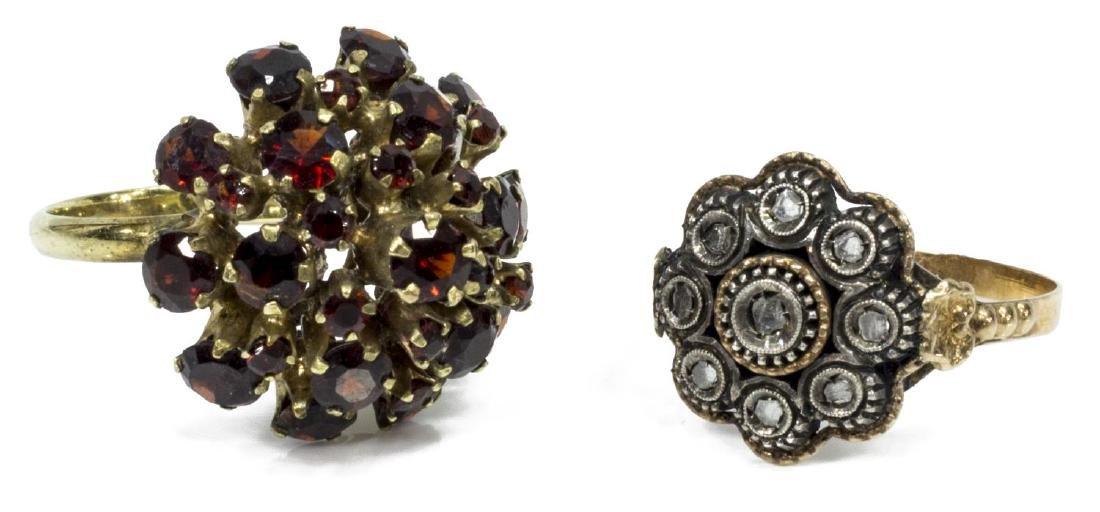 (2) ESTATE18KT & DIAMOND CHIP & GARNET RINGS