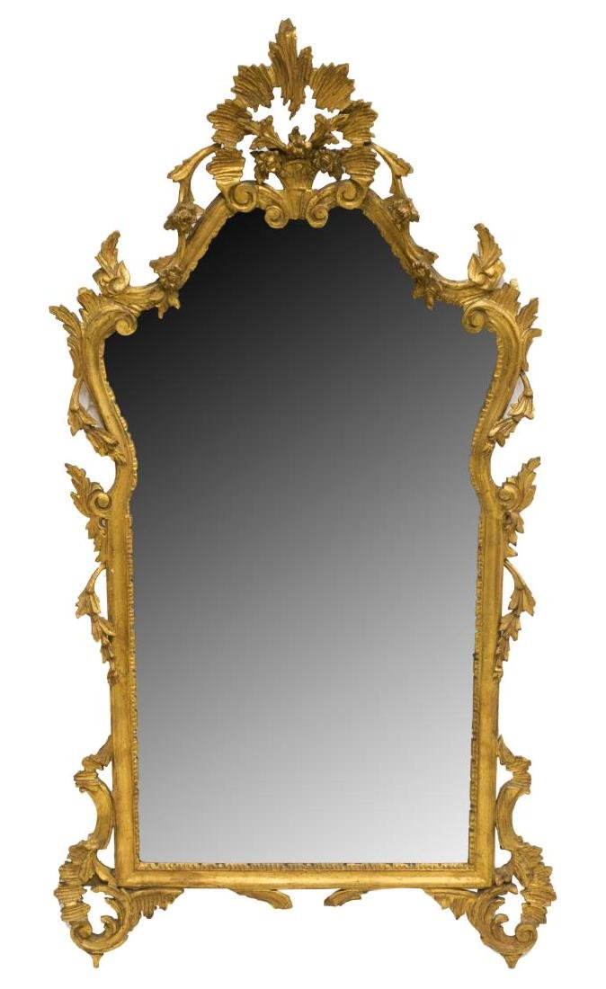 FLORENTINE PIERCED AND CARVED GILT WALL MIRROR