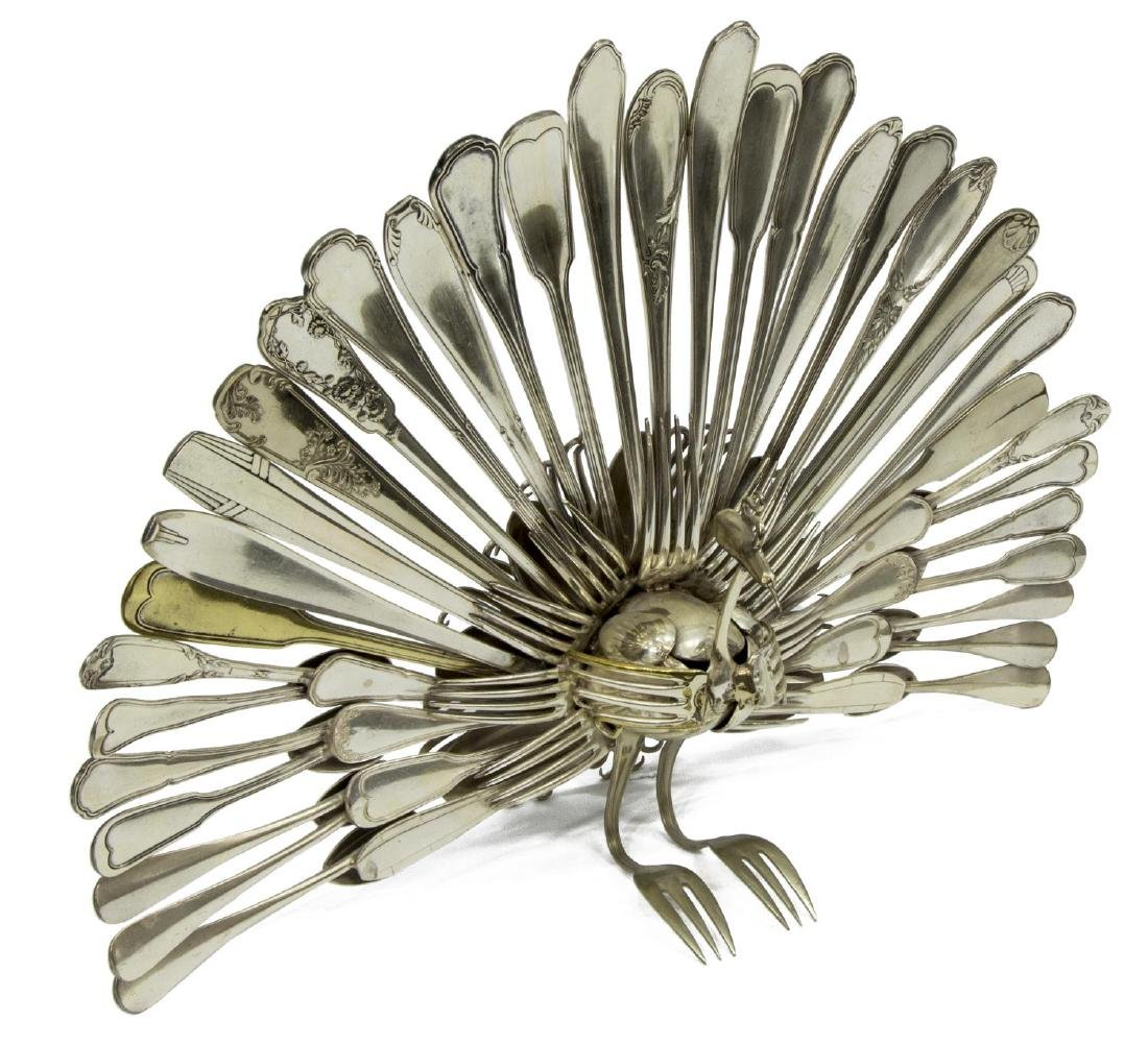 LARGE PEACOCK FORM SCULPTURE FROM CUTLERY