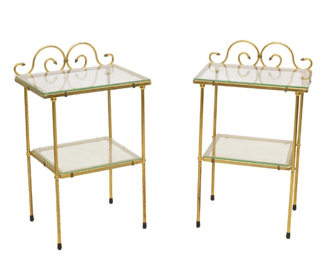 (2) VINTAGE TWO-TIER GILT METAL GLASS SIDE TABLES