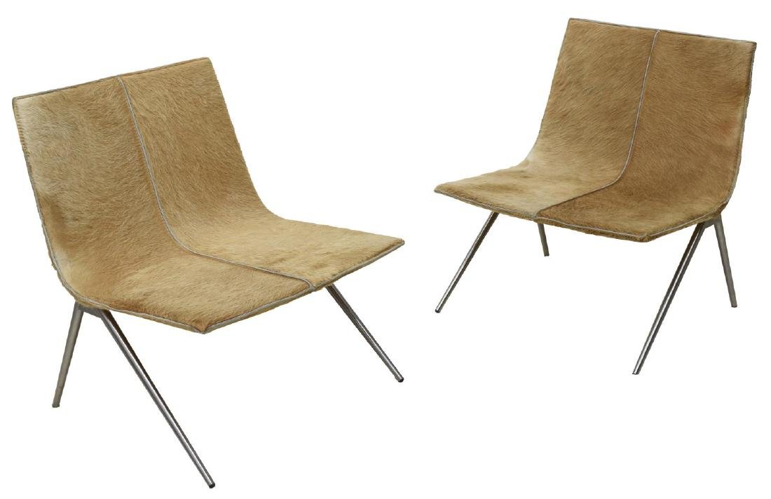 (PAIR) CONTEMPORARY COWHIDE SIDE CHAIRS
