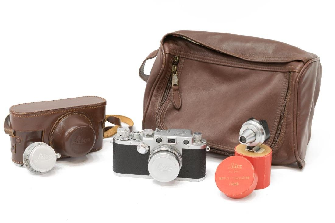 (4) LEICA IIIF CAMERA, WITH LENSES & RANGE FINDER