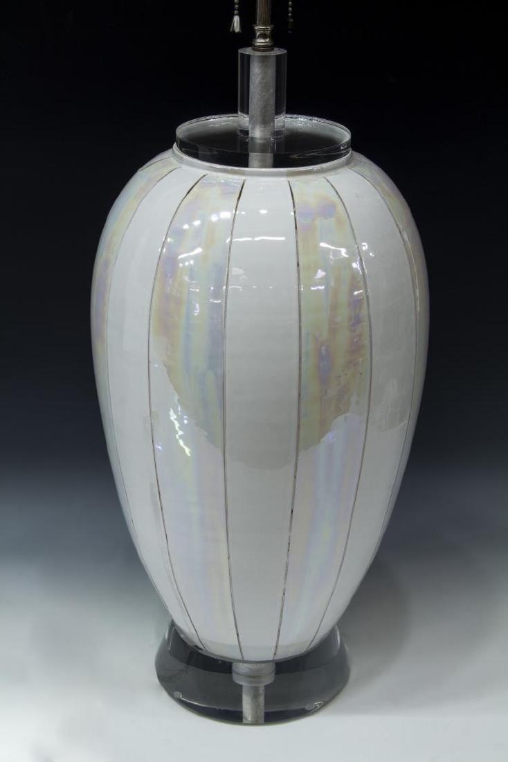 ITALIAN MODERN CERAMIC & LUCITE 2-LT TABLE LAMP