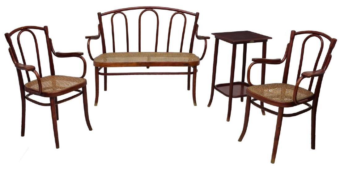 (4) FRENCH BENTWOOD CANE SUITE, BY THONET