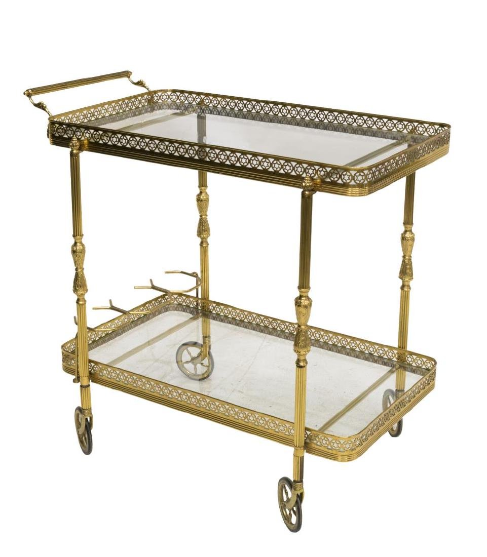ITALIAN GILT BRASS & GLASS SERVICE CART