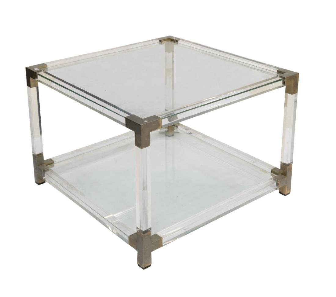 ITALIAN MODERN PLEXIGLASS AND GLASS SOFA TABLE