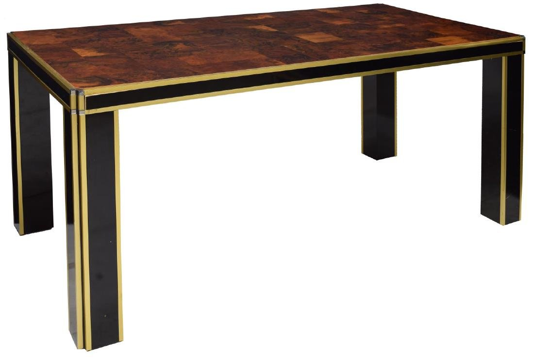 MID-CENTURY MODERN AMBOYNA PARQUETRY DINING TABLE