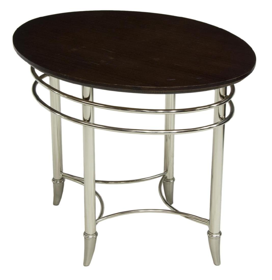 CONTEMPORARY CHROME BASE WOOD TOP SIDE TABLE