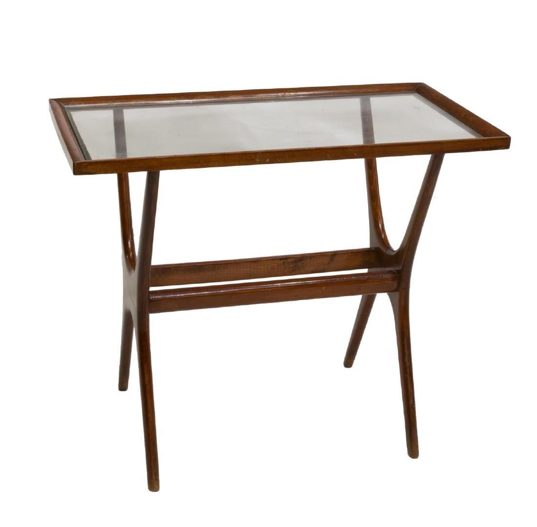 ITALIAN MID-CENTURY TEAKWOOD GLASS TOP SIDE TABLE