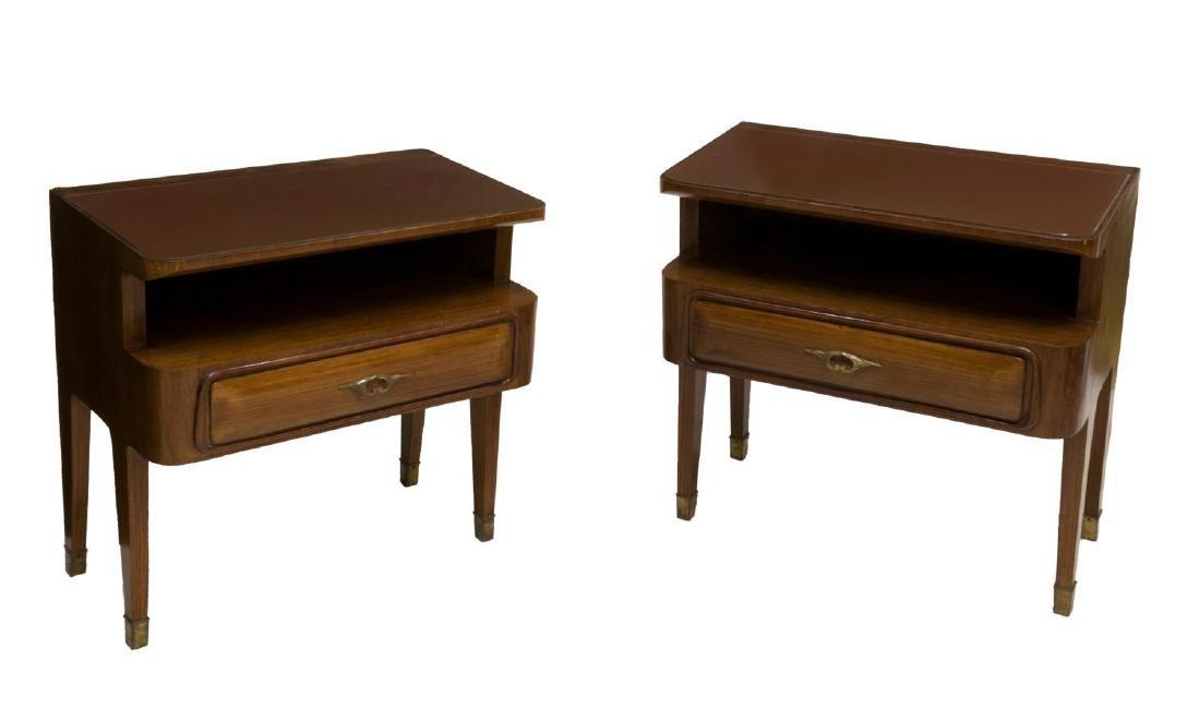 (2) ITALIAN MID-CENTRY MODERN TEAK SIDE TABLES