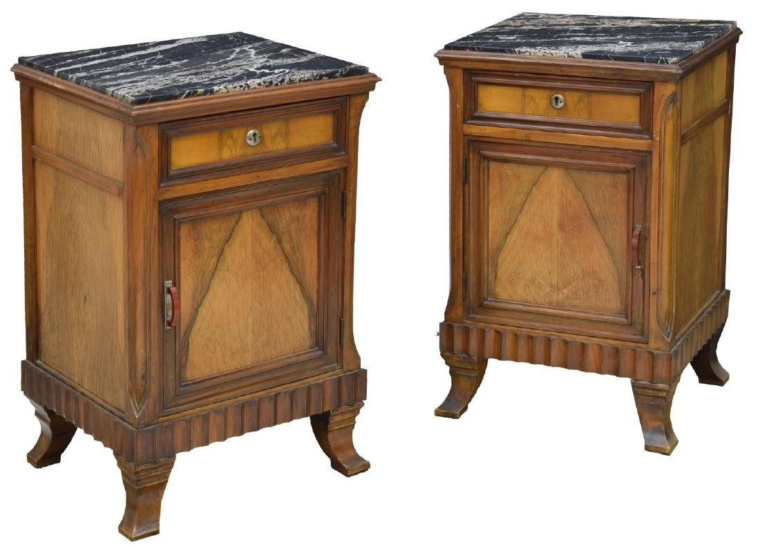 (2) ART DECO BOOK MATCHED WALNUT SIDE CABINETS