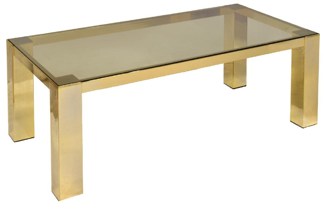 ITALIAN MODERN GILT METAL GLASS TOP SOFA TABLE