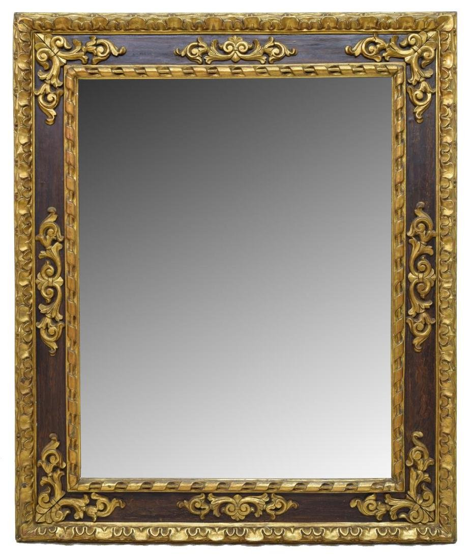 MONUMENTAL ITALIAN CARVED PARCEL GILT WALL MIRROR