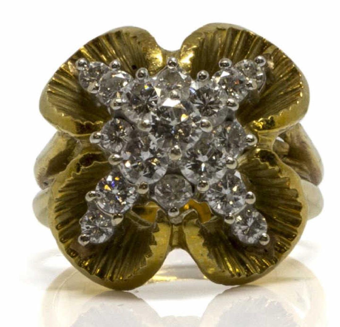 LADIES 18KT YG & 1.20CTTW DIAMOND COCKTAIL RING