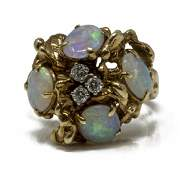 ESTATE 14KT YG OPAL AND DIAMOND COCKTAIL RING
