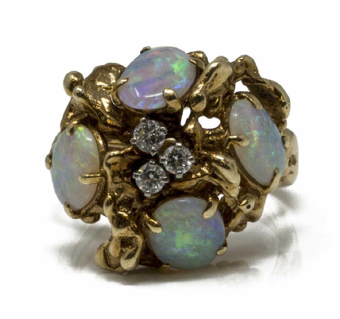 ESTATE 14KT YG, OPAL AND DIAMOND COCKTAIL RING