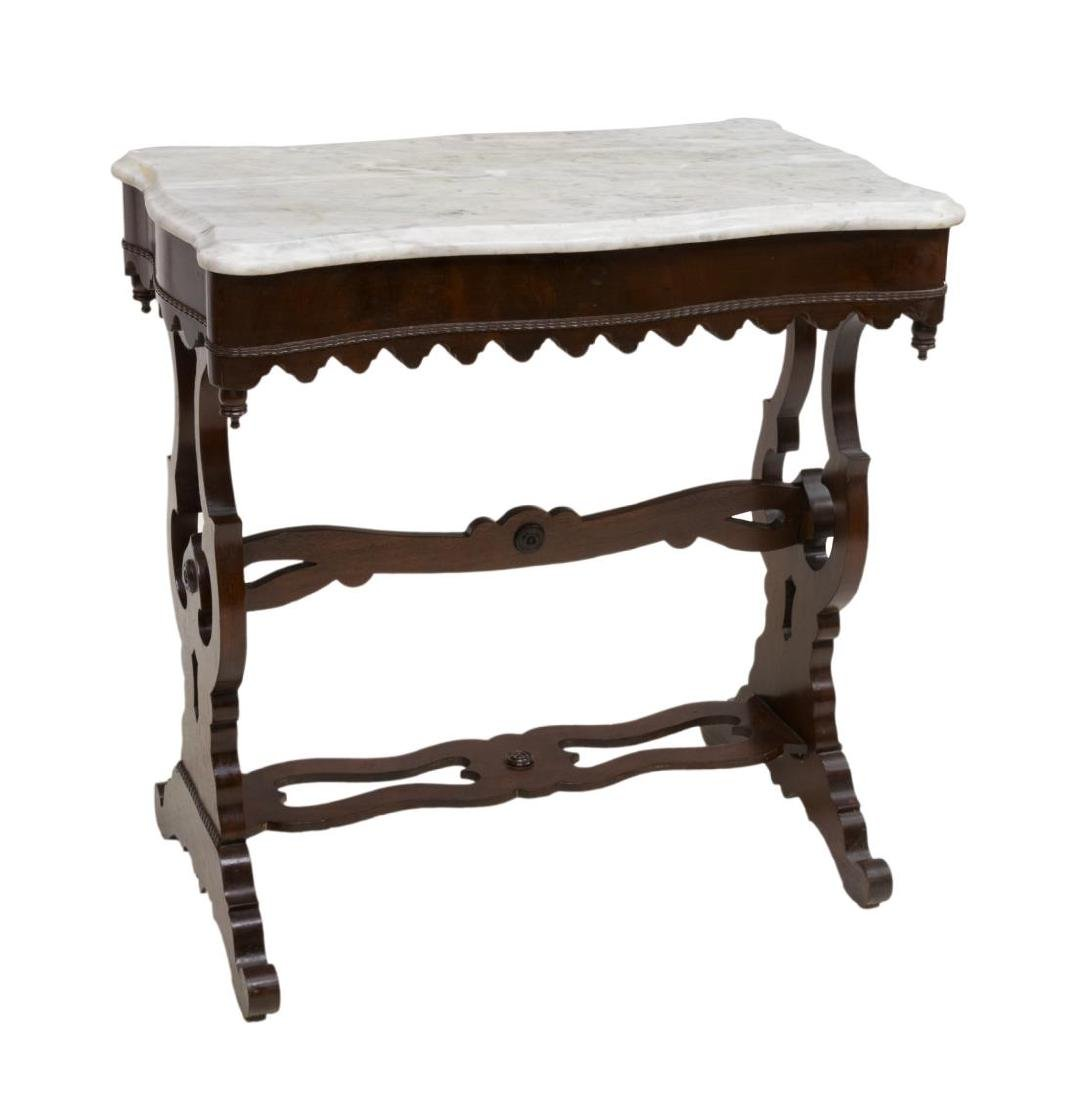VICTORIAN MAHOGANY MARBLE TOP PARLOR TABLE