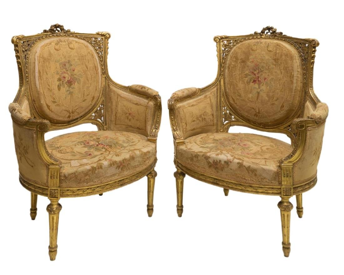 (2) LOUIS XVI STYLE GILT CARVED BERGERE CHAIRS