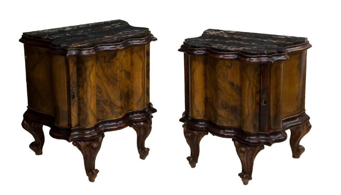 (2) VENETIAN MARBLE TOP FIGURED WOOD SIDE CABINETS