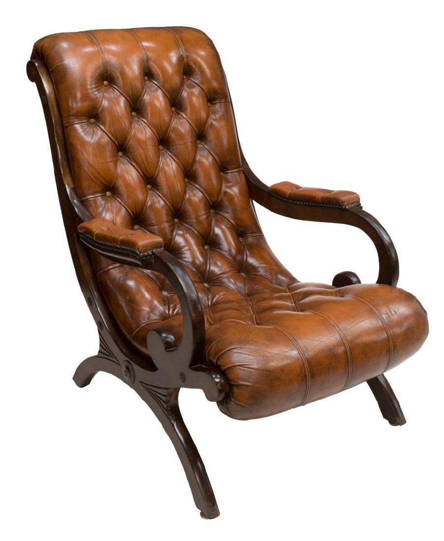 BUTTONED LEATHER LOUNGE CHAIR