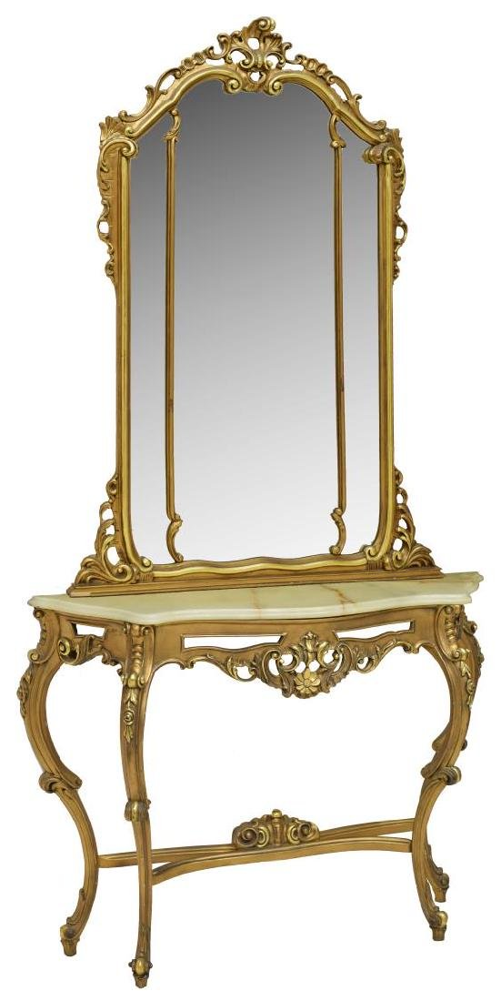 ITALIAN LOUIS XV STYLE GILT CONSOLE TABLE & MIRROR